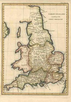 """""""Cornweallas"""" shown on an early 19th-century map of """"Saxon England"""" (and Wales) based on the Anglo-Saxon Chronicle."""
