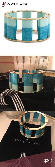 """Lele Sadoughi Tall Stackable Bangle. NWT. Perfect to wear alone or with other bracelets. Genuine stones secured with 14k gold plated rivets in steel casings. 1 3/8"""" height. 7"""" inside circumference. NWOT. And includes original dust bag. Nordstrom Jewelry Bracelets"""