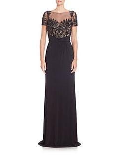 David Meister - Sequined-Bodice Draped Gown