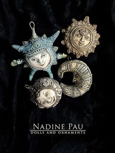 Nadine Pau - masks, dolls and ornaments.'s photos – 18 albums Polymer Clay Kunst, Polymer Clay Projects, Polymer Clay Creations, Polymer Clay Beads, Clay Crafts, Diy Fimo, Clay Faces, Paperclay, Metal Clay