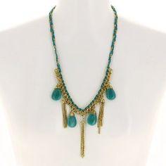 Collier fantaisie vert fait main - Bijou en métal, tissu, perles: ShalinCraft: Amazon.fr: Bijoux