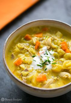 Turkey Mulligatawny (aka Curried Turkey Soup):  Easy one-pot curried turkey soup,  made with leftover or deli turkey, apples, rice, curry powder, stock, onions, carrots, and celery. Delicious! ~ SimplyRecipes.com
