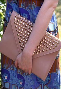 Vintage 1980s style nude beige stud oversized clutch bag