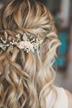 """Quick and Easy Half Up Half Down Hairstyles for Long Hair """" Quick Hairstyles, In my opinion, hair ribbons/scarves are the prettiest hair accessories. They can make a bad hair. Wedding Hair And Makeup, Wedding Beauty, Bridal Makeup, Bridal Hair, Hair Makeup, Makeup Tips, Floral Wedding Hair, Prom Makeup, Hair Wedding"""