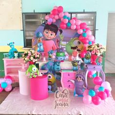 Monsters Inc Centerpieces, Monsters Inc Decorations, Girls Party Decorations, Monster Inc Party, Monster Inc Birthday, Monsters Ink, Girl Birthday, Birthday Cake, Stitch And Angel