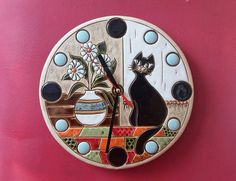 ceramic art clock ceramic clock cat clock clock with cat