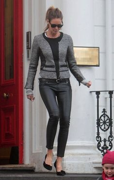 Black leather skinnies finished off with pointed stilettos is a style fav.