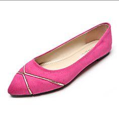 Chaussures Femme Similicuir Talon Plat Bout Pointu/Bout Fermé Plates Décontracté Noir/Bleu/Rose