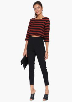 A chic pair of high waist trousers.