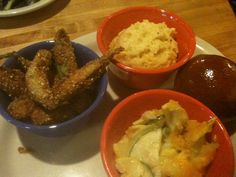 Belle Diner in downtown Memphis: try the vegetable plate, pictured here fried okra, squash casserole, and cheese grits.
