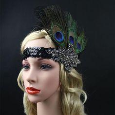 Rhinestone Beaded Sequin 1920s Vintage Gatsby Flapper Headpiece New Years Eve