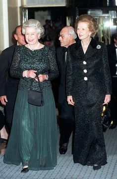In a file picture taken on October 16, 1995 Britain's Queen Elizabeth II (L) and former British prime minister Margaret Thatcher (R) arrive at Claridge's in London for a dinner to celebrate the former prime minister's 70th birthday.