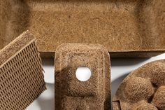 A combination of 60% coir (coconut) fibres and 40% natural latex, Cocoform is a moldable fibrous composite that offers easy formability of complex shapes.
