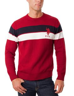 Crew Neck Chest Stripe Sweater