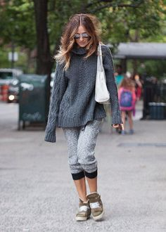 Sarah Jessica Parker in all grey knits and olive platform sneakers