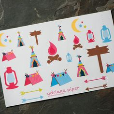 Girls Camping Collection Stickers  26 ct for Erin Condren Life Planner, Plum Paper Planner, Filofax, Kikki K, Calendar or Scrapbook by adrianapiper on Etsy