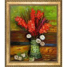 Vincent Van Gogh Vase with Gladioli Hand Painted Framed Art