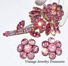 Vintage WEISS Pink Rhinestone Gold Flower Pin & Clip Earrings #Weiss