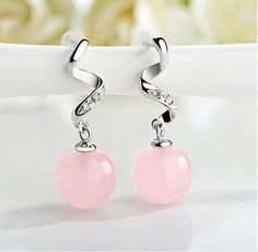 Cute Design 925 Sterling Silver Stud Earrings, Micro Pave AAA Zircon Helix with Rose Quartz Bead, Silver  on We Heart It