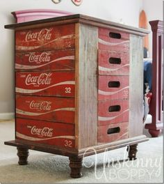 Are you a fan of Coca-Cola memorabilia? Then you must check out this DIY Coca-Cola Crate Nightstand, you will love it! by debbie