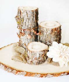 Rustic Wooden Log Votive Tea Light Candles SET OF 3 Natural, Woodland Centerpeice decorations on Etsy, $17.00