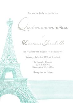 Paris Eiffel Tower Quinceanera Save the Date by ModernPhotographer
