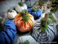 How to make fabric pumpkins.  Silver Pennies: DIY: Fabric Pumpkins