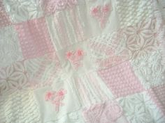 """Vintage Baby - 'Pretty in Pink' - Vintage Chenille Baby Quilt in Super PLUSH Pink and White - Baby, Stroller, Crib - 38"""" x 38"""". $145.00, via Etsy."""