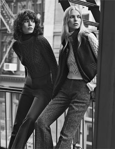Models Steffy Argelich and Lina Berg for Club Monaco's Fall 2015 Campaign, shot by Lachlan Bailey in Tribeca.