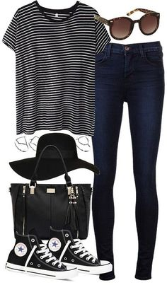 Let's get started with the most basic and simple outfit. Black or blue denim pants, a striped topor tshirt, black sneakers and a military jacket. Accessorize with an oversized bag, a fedora hat, geometric print rings and retro sunglasses.