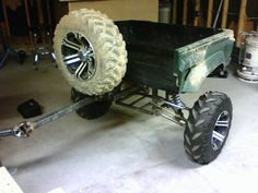 off road trailer . looks like a Rhino bed with Banshee A-arms! Bug Out Trailer, Diy Camper Trailer, Airstream Campers, Off Road Trailer, Trailer Plans, Trailer Build, Vintage Airstream, Atv Trailers, Expedition Trailer