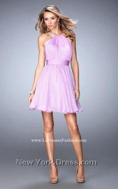 Fluttering Flair Draped Cocktail Dress by La Femme 21885