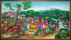 Marche Bruyant (Busy Market), c. 1997. Ezene Domond. Haitian art.