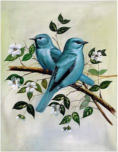 Painting of two birds in a tree
