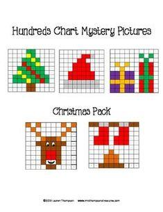 Christmas Math - Hundreds Chart Mystery Pictures. This is a set of 5 fun… Christmas Math, Christmas Activities, Christmas Cross, Christmas Tree, Cross Stitch Cards, Cross Stitching, Cross Stitch Embroidery, 100 Chart, Hundreds Chart