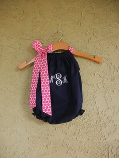 Monogrammed Navy Pillowcase Bubble Romper sizes by theuptownbaby