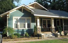 bungalow front exterior Paint color is SW Studio Blue Green Craftsman Exterior, Cottage Exterior, House Paint Exterior, Craftsman Bungalows, Exterior Paint Colors, Exterior House Colors, Paint Colors For Home, Craftsman Style, Craftsman Homes