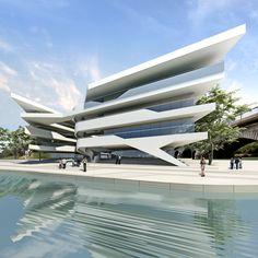 Architecture Building Design, Modern Architecture House, Facade Design, Futuristic Architecture, Beautiful Architecture, Unusual Buildings, Modern Buildings, Futuristic Home, Modern Architects