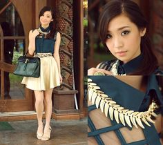 Fantasia Top, Fantasia Skirt, Wicked Drops Necklace | Emerald and Gold (by Kryz Uy) | LOOKBOOK.nu