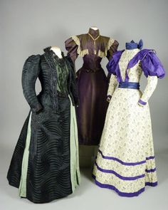 Left to right: afternoon dress, about 1890; afternoon dress, 1895; day dress, 1896. For more information visit dar.org/newwoman/