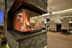 Feature fireplace, great for warming your toes after skiing.