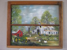 Farm scene painted on an old window