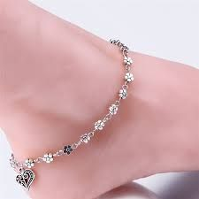 Image result for pure silver fashionable anklets