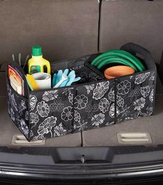 car Trunk Organizer and Removable Cooler Bin Insulated SUV -  Black White Floral #na