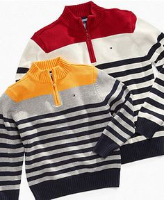Tommy Hilfiger Kids Sweater, Little Boys Roy Half Zip - Kids Sweaters - Macy's Little Boy Fashion, Kids Fashion Boy, Baby Cardigan Knitting Pattern, Baby Knitting, Boys Sweaters, Casual Sweaters, Tommy Hilfiger Kids, Mens Fashion Sweaters, Cute Little Boys