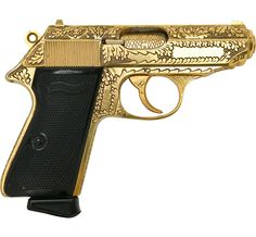 golden walther ppk (james bonds weapon of choice) Weapons Guns, Guns And Ammo, Rifles, Gun Art, Custom Guns, Fire Powers, Cool Guns, Self Defense, Shotgun