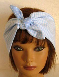 Hair Bandana, BOHO Headband, Hair Accessory, BLUE and WHITE, Gingham and Dots, Pin Up Hair Bandana, Boho, Reversible Bandana, Women HairBand by StitchesByAlida on Etsy