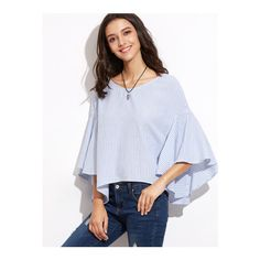 SheIn(sheinside) Blue Striped Tied V Back Oversized Bell Sleeve Top (€12) ❤ liked on Polyvore featuring tops, blouses, blue, striped blouse, flutter sleeve top, 3/4 sleeve tops, blue blouse and collar blouse