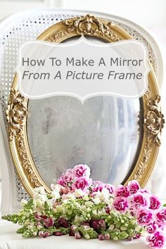 Grab a beautiful old frame with the glass at a yard sale or flea make it into a mirror! #DIY