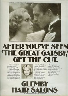 gatsby haircut ad - Movies set in the 1910s 1920s 1930s 1940s.jpg Girls during this period were focusing more on their looks. This newspaper article is telling women to look like a movie star and cut your hair like an actress!